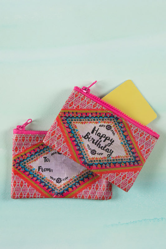 Happy Birthday Gift Card Zipped Pouch