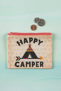 Happy Camper Recycled Coin Pouch