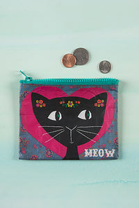 """Meow"" Recycled Zipped Pouches"