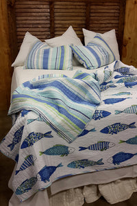 Blue and Green Nautical Fish Bedding Set
