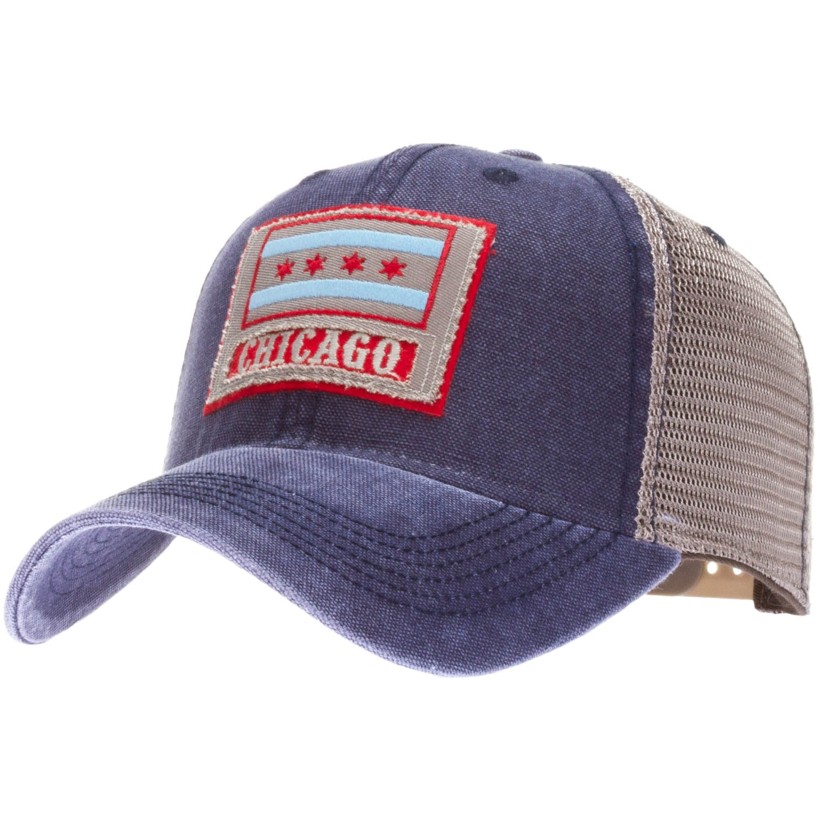 Chicago Flag Washed Trucker Cap w// Mesh Adjustable Strap
