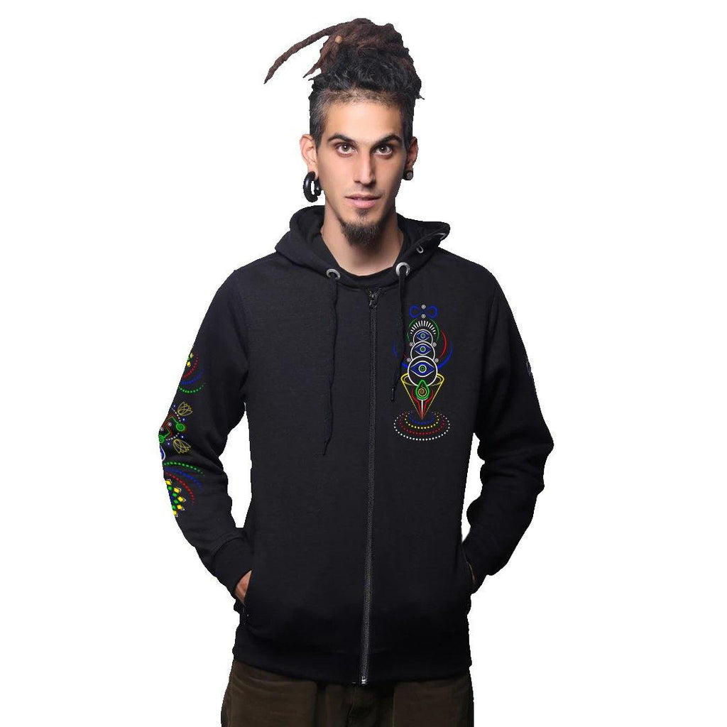 Cyber Ganesha Zip Up Cotton Hoodie (6128396501176)