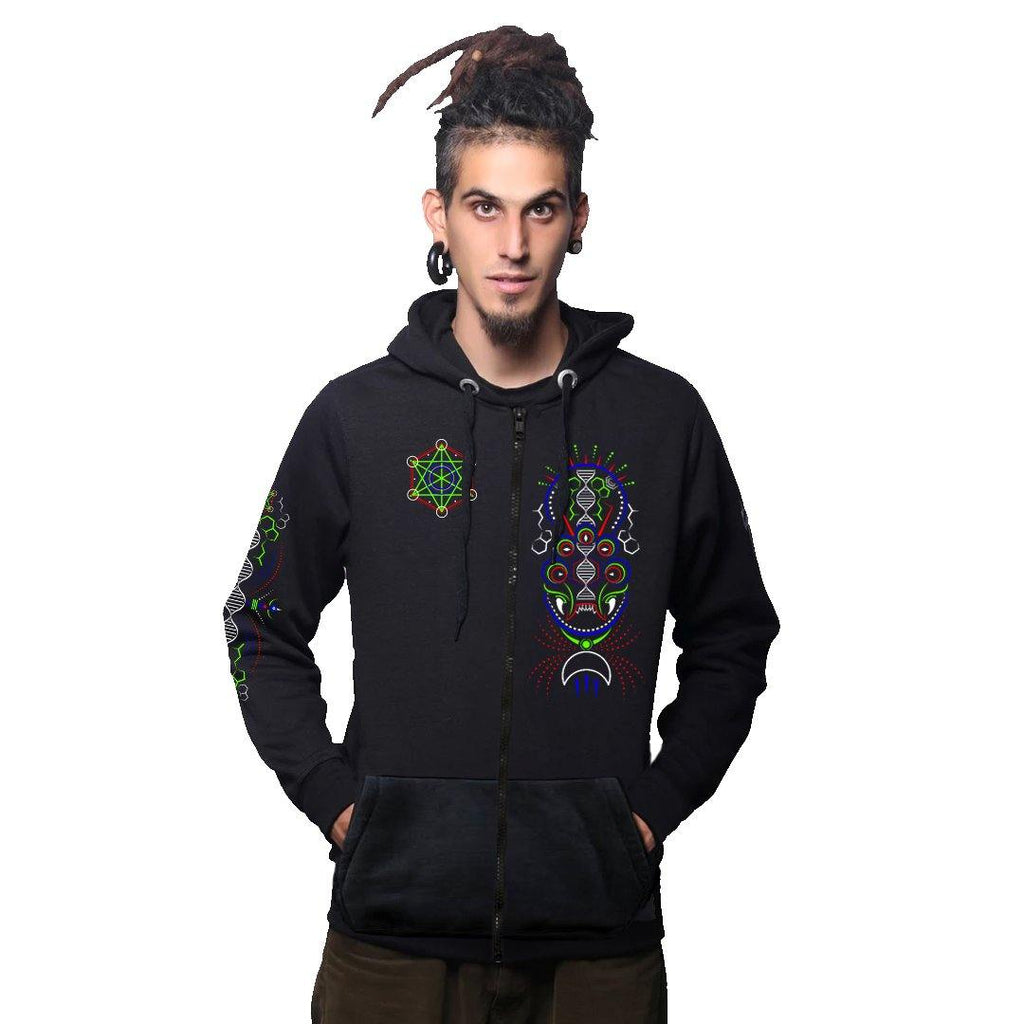 DMT Demon Zip - Up Cotton Hoodie UV Plus Glow In Dark (6122504487096)