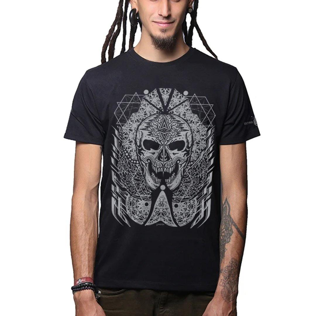 J Skull Premium Cotton Half Sleeves Black And Silver (4477820534867)