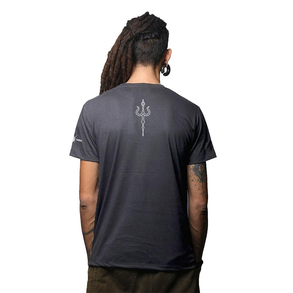 Sacred Trishul Glow In The Dark Grey Melange  Cotton T Shirt (4667411923027)