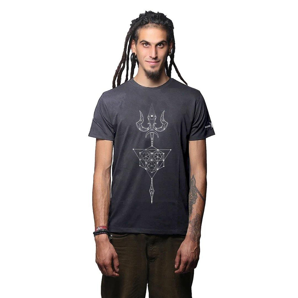 Sacred Trishul Glow In The Dark Grey Melange  Cotton T Shirt
