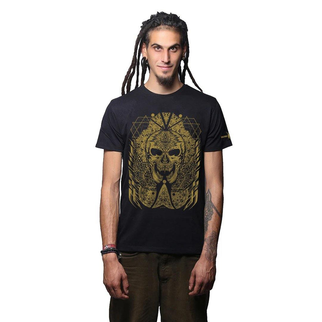 J Skull Premium Cotton Half Sleeves Black And Gold (3930654113875)