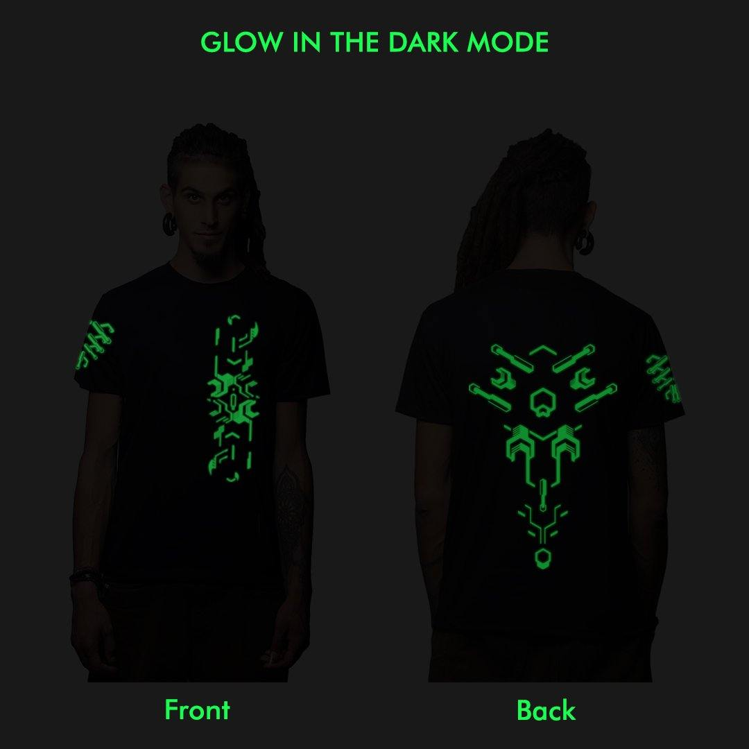 Interkon Glow In The Dark Plus Uv Reactive Cotton half Sleeves T Shirt (4383881527379)