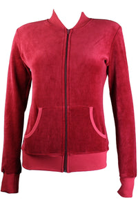 Burgundy Zip Collar Jacket