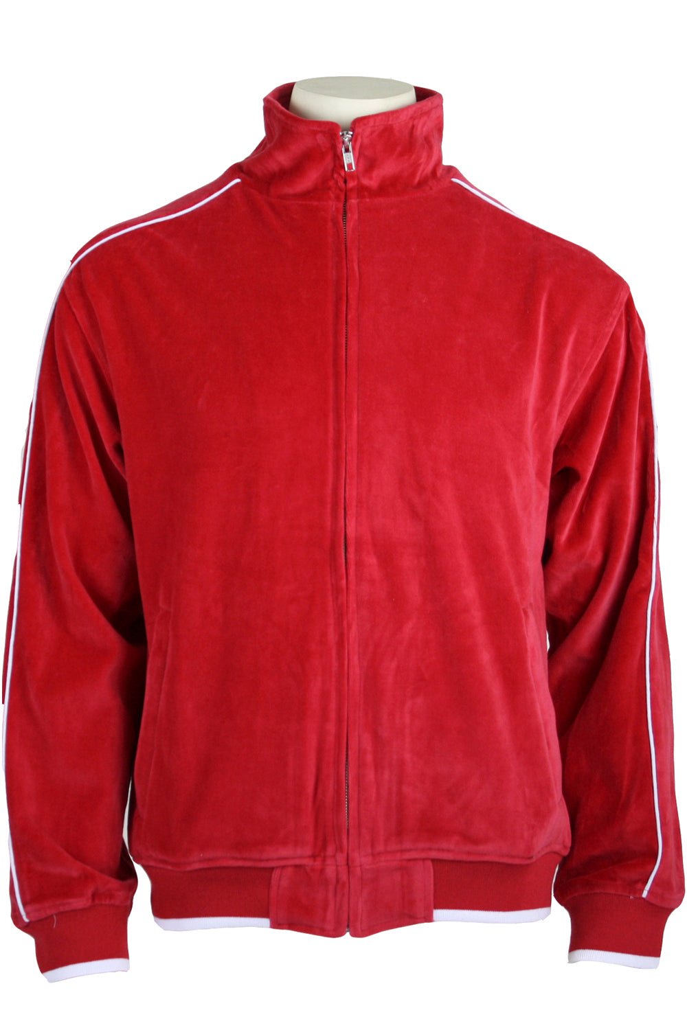 Mens Red Velour Tracksuit With White Piping Sweatsedo