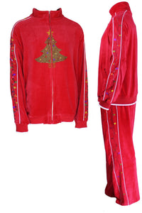 velour, tracksuit, rhinestone christmas tree, Christmas, party, fun, sweatsuit, holiday, festive