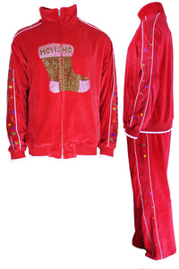 velour, tracksuit, rhinestone stocking, Christmas, party, fun, sweatsuit, holiday, festive