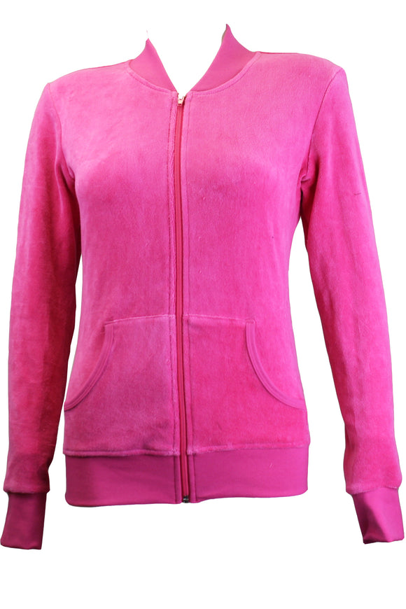 Hot Pink Zip Collar Jacket