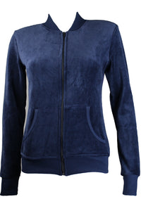 Navy Blue Zip Collar Jacket
