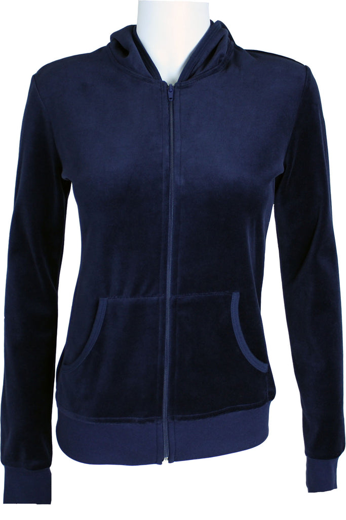 Comfort Colors Color Chart >> Womens Navy Blue Velour Hoodie | Track Jacket | Sweatsedo