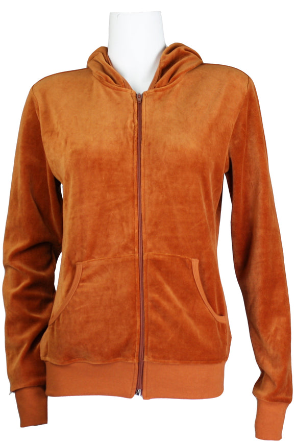 Burnt Orange Velour Zip Hoodie