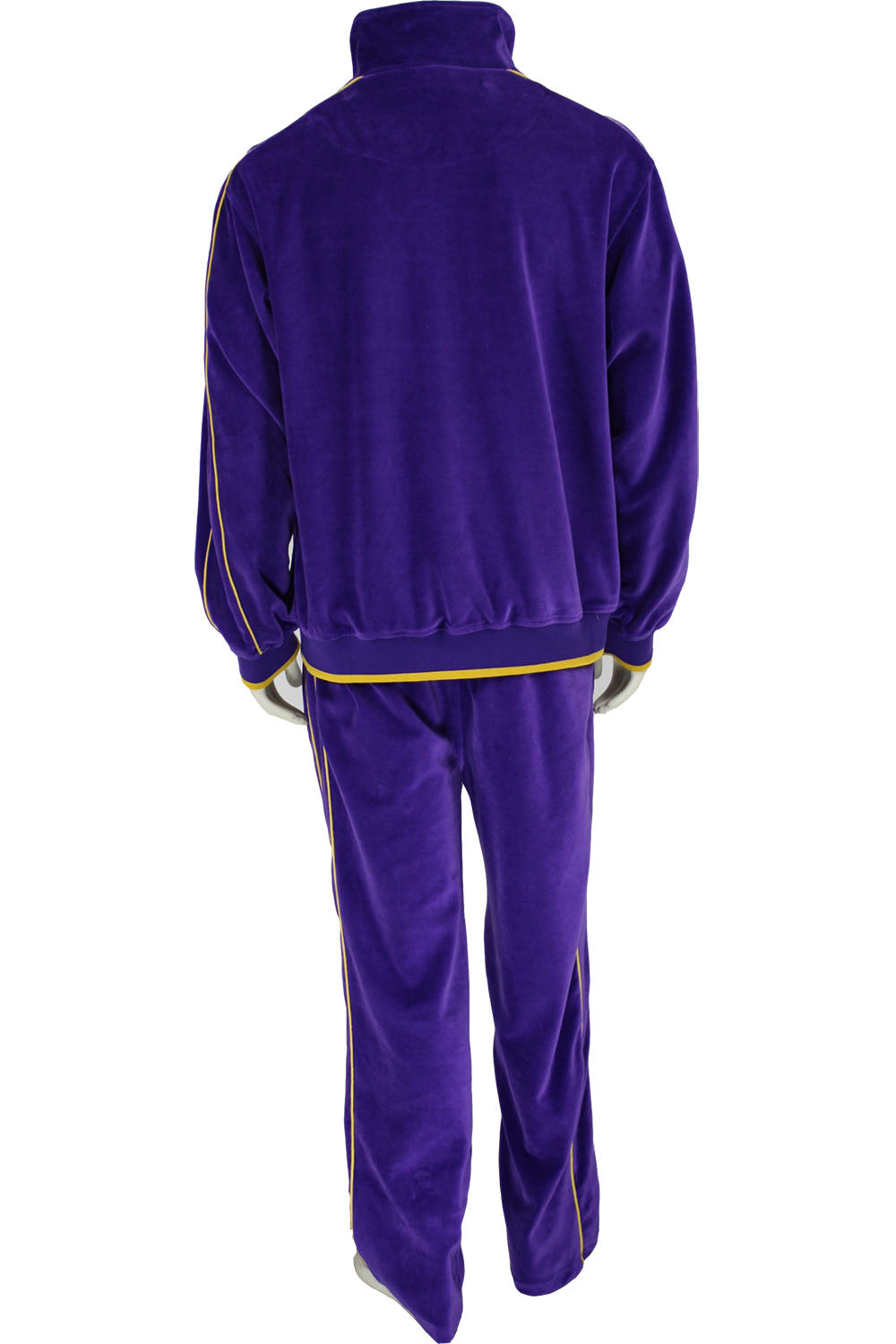 072850896546 Mens Purple Velour Tracksuit with Yellow Piping