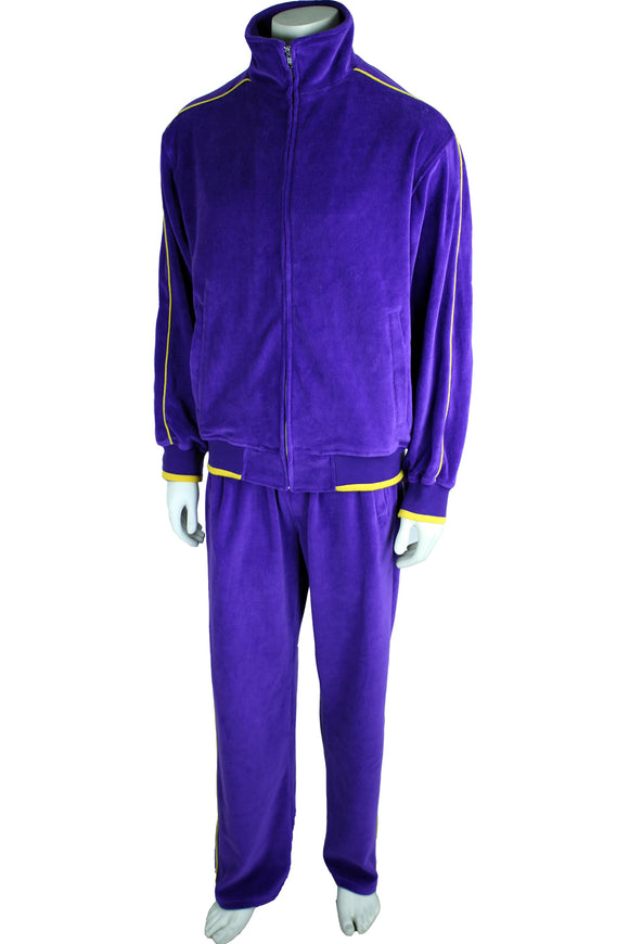 Mens Purple Velour Tracksuit, Sweatsuit, Jogging suit, Vikings, LSU, Lakers, University of Washington