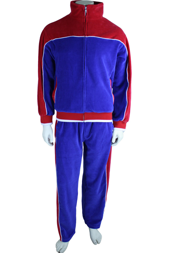 Mens Red White Amp Blue Velour Tracksuit Statesman