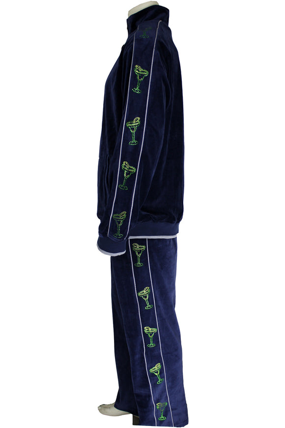 Navy blue velour tracksuit with green rhinestone margaritas.  perfect for partys, the most comfortable sweatsuit you will ever own.