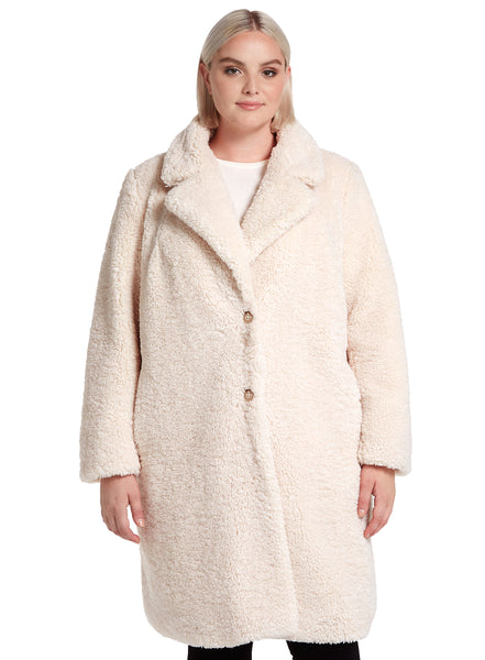 Curly Textured Faux Fur Reefer Coat