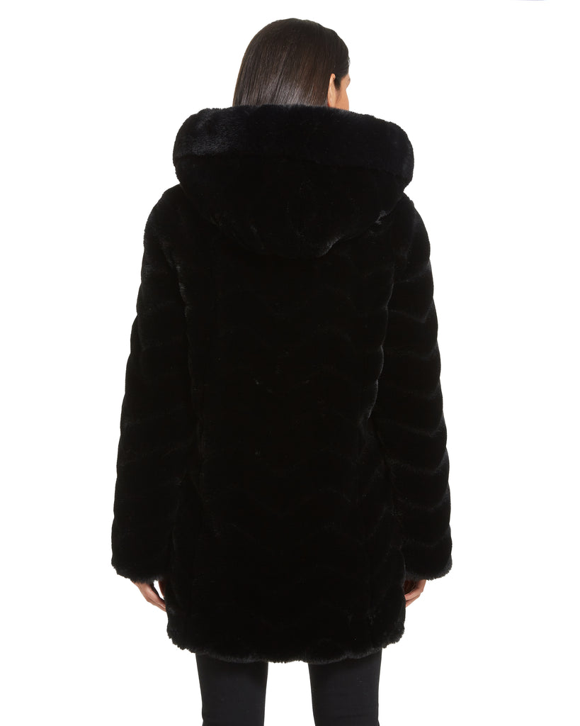 Chevron Sculpted Faux Fur Hooded Jacket with Faux Fox Trim