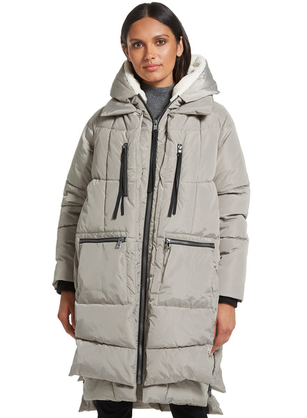 3/4 Length Faux Down Layered Relaxed Look Fashion Puffer