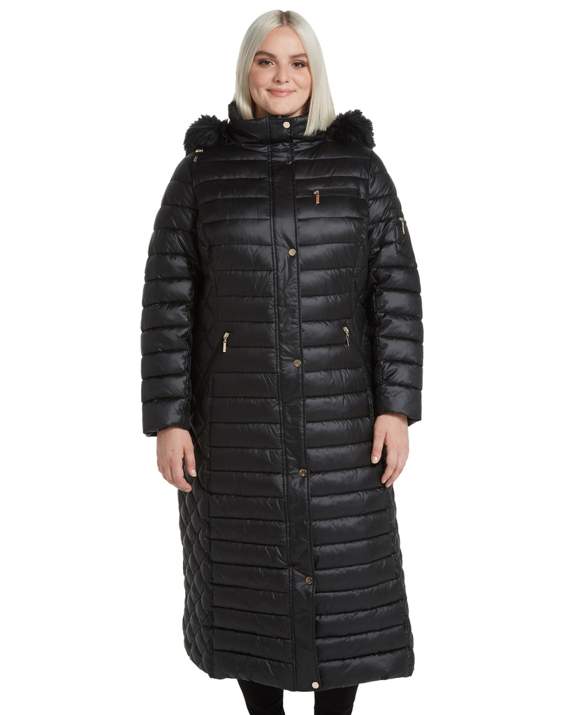Long Zip Front Faux Down Puffer with Detachable Faux Fur Trimmed Hood