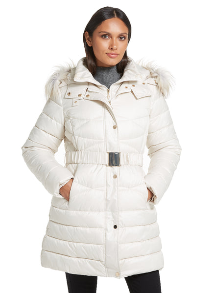 ¾ Length Faux Down Belted Fashion Puffer