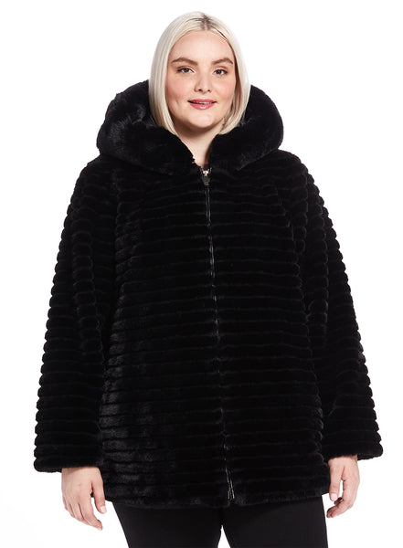 Thin Ridged Hooded Faux Fur Jacket