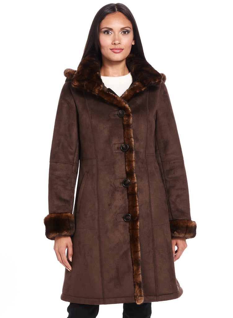 Bonded Faux Shearling Walking Coat