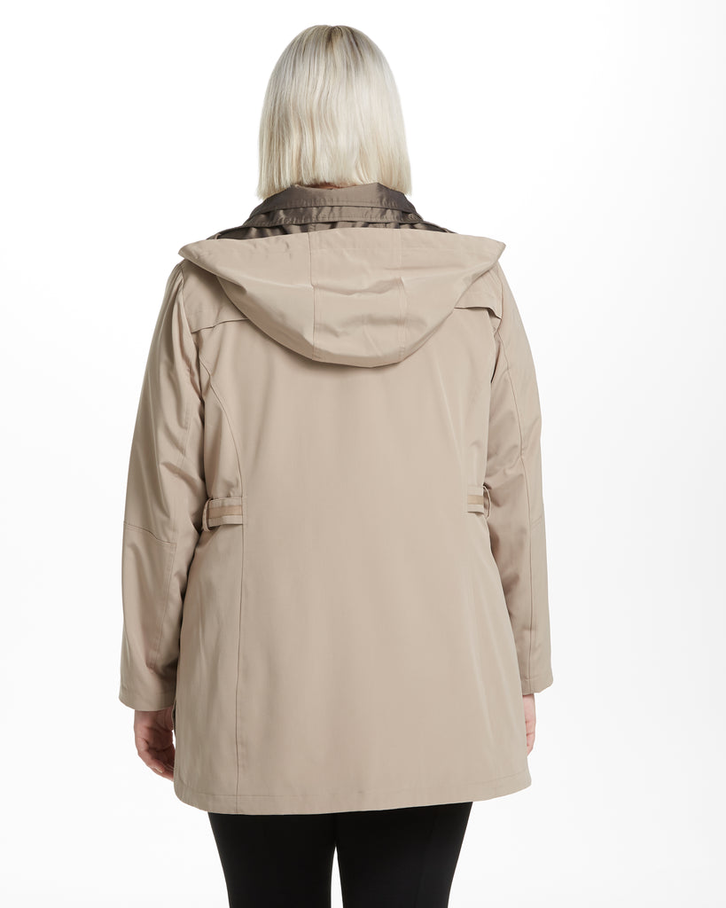 Novelty Bibbed Rain Jacket with Contrast Fabric Trim