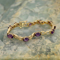 Modern X's and O's Amethyst Bracelet