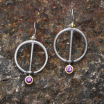 Amethyst and Oxidized Silver Earrings