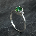 Oval Cut Green Tourmaline and Diamond Ring