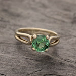 Green tourmaline split shank ring