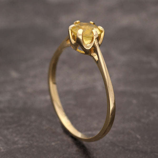Golden beryl engagement ring