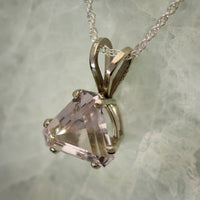 Triangle cut Morganite pendant