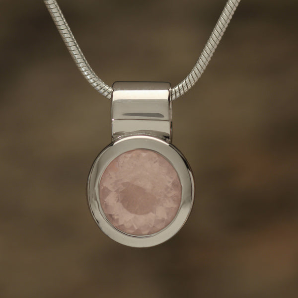 Bezel set Rose Quartz pendant