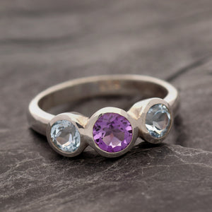 Amethyst & Aqua Three Stone Ring