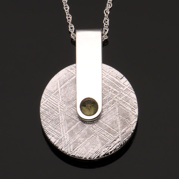Meteorite Disc and Moldavite Pendant