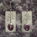 Tree and Amethyst Earrings
