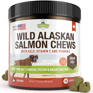 Wild Alaskan Salmon Oil Chews for Dogs, 120 Bites