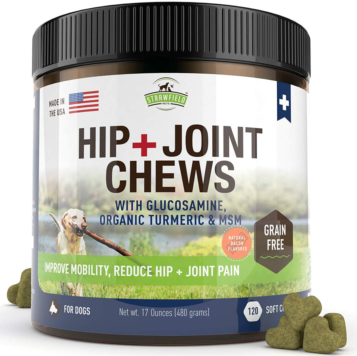 Hip + Joint Chews with Glucosamine Chondroitin, MSM, Organic Turmeric Soft Chews, 120-Count