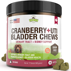 Cranberry Supplement Dog Treats - 120 Gluten-Free Soft Chews for Dogs Urinary Tract Health, UTI, Bladder Infection Kidney Support