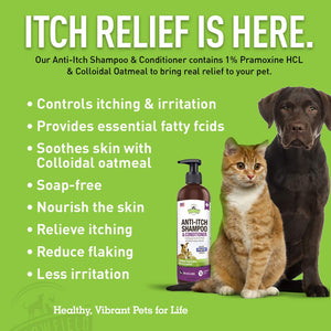 Anti Itch Relief Oatmeal Dog Shampoo and Conditioner – 16 oz - Soap Free, Hypoallergenic Medicated Dog Shampoo for Skin Allergies, Allergy Itching, Dry Itchy Skin Treatment