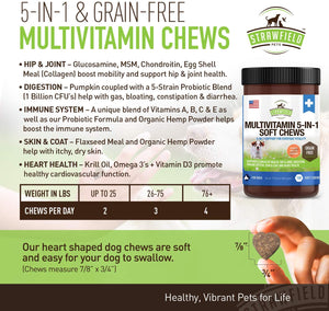 Dog Multivitamin + Glucosamine Chondroitin MSM, Omega 3, Probiotics, Hemp - 120 Grain Free Chews, USA - Dog Vitamins and Supplements for Coat, Skin, Heart, Immune Support + Joint Supplement for Dogs