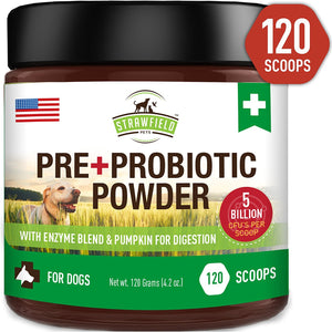 Pre + Probiotic Powder for Dogs, 4.2 oz, with 5 Billion CFUs plus Enzyme Blend & Pumpkin for Digestion