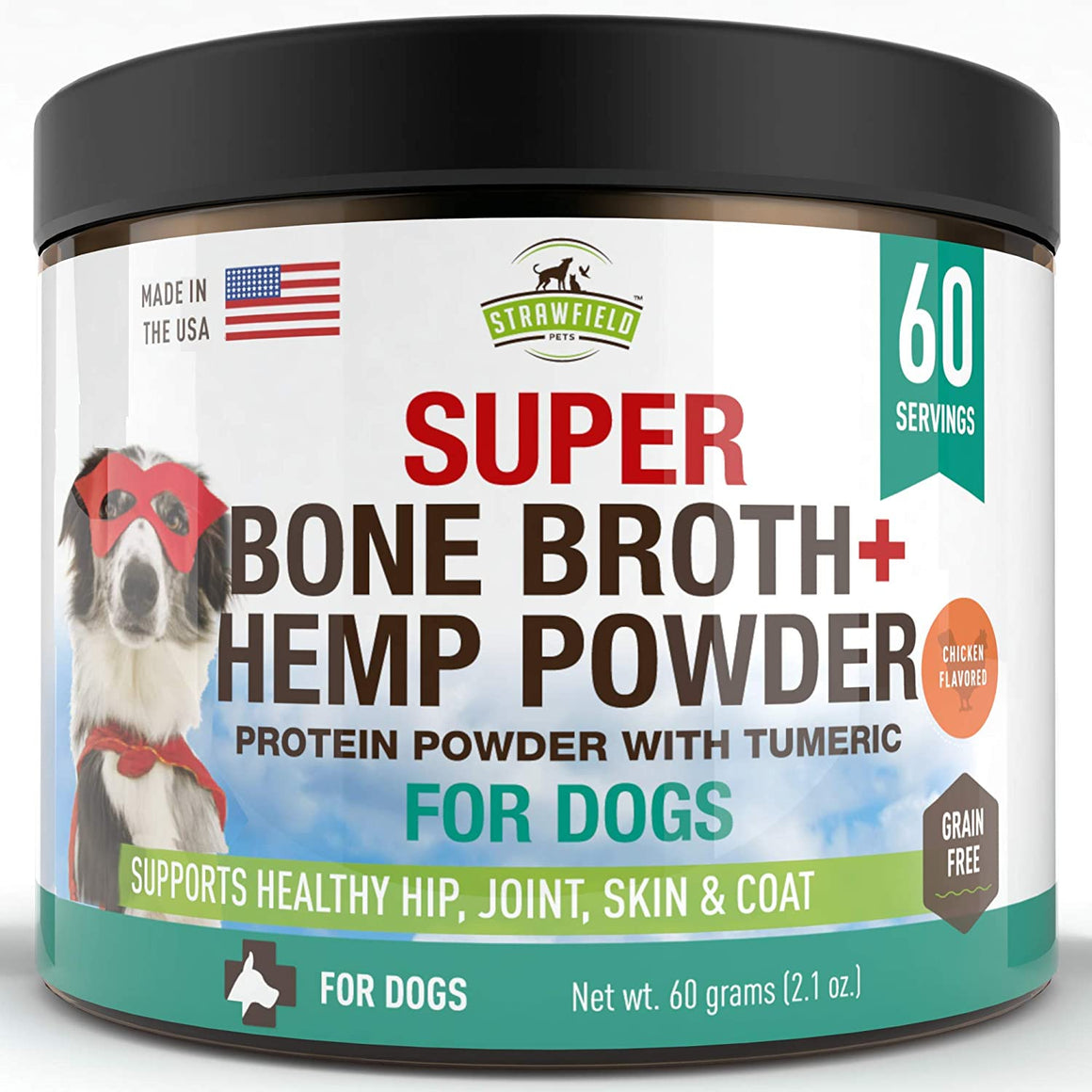 Powdered Bone Broth for Dogs - 60 servings, Chicken Flavor - Dog Food Topper w/Organic Turmeric, Hemp Protein Powder, Pumpkin, Glucosamine Chondroitin for Joint Support Arthritis Pain Relief