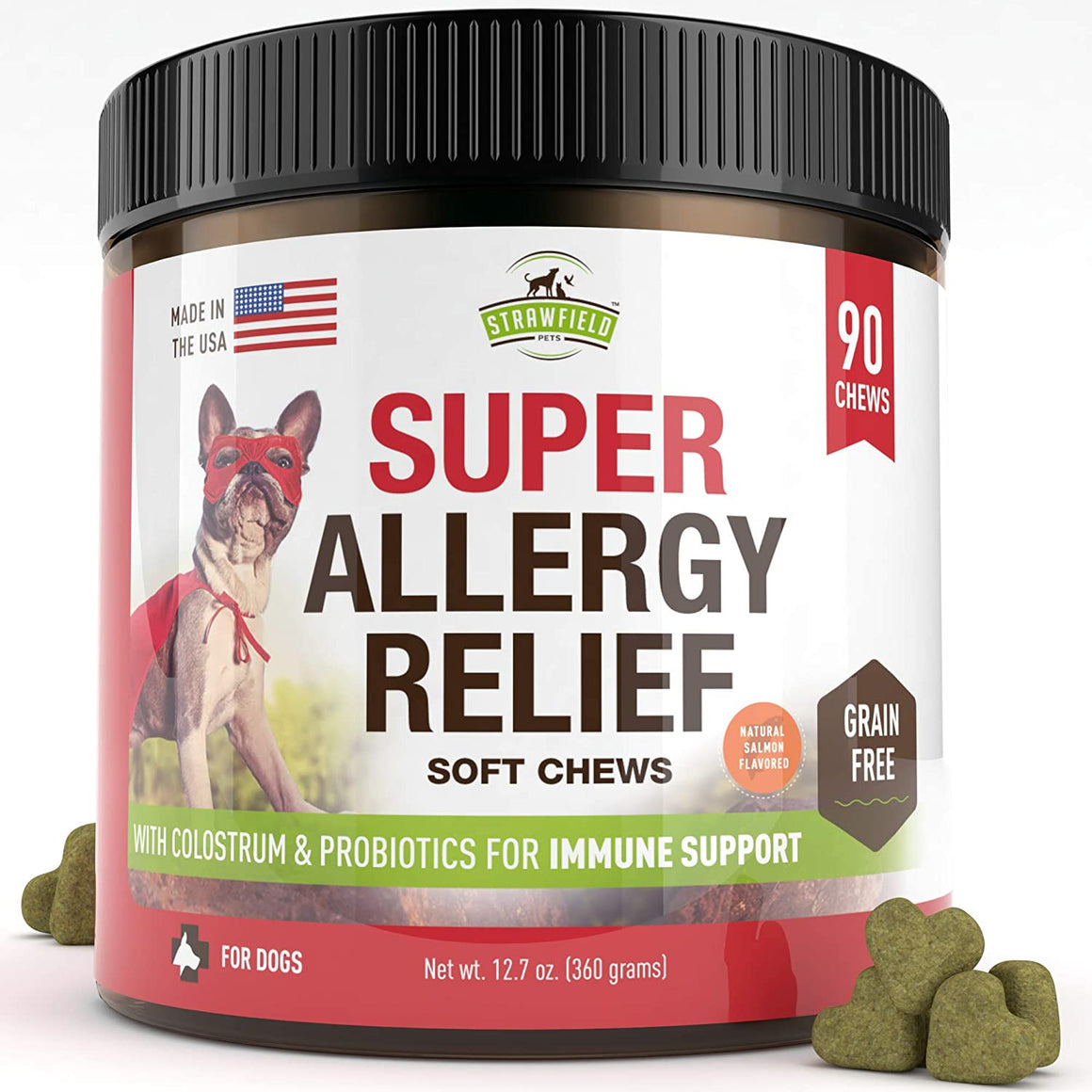 Super Allergy Relief Chews for Dogs with Colostrum & Probiotics - 90 count